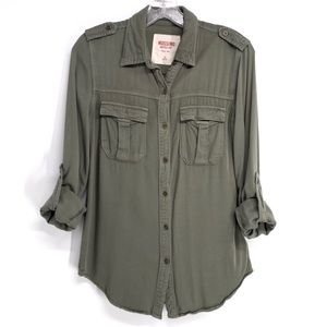 Women's Utility Button Down Shirt, Army Green, XS